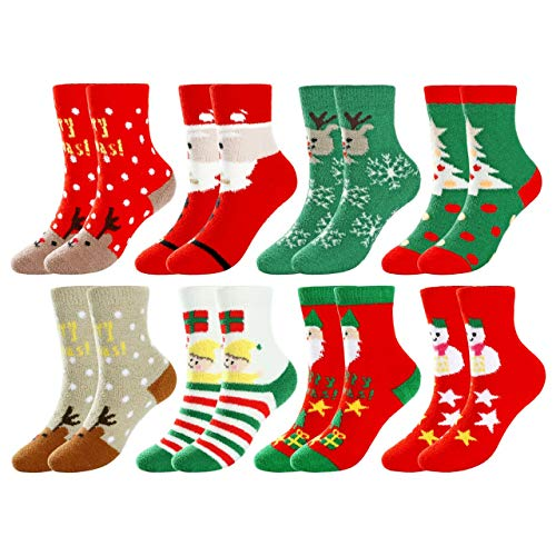 CHIC DIARY Weihnachten Socken Damen Winter Weihnachtsstrumpf Lustige Bunte Christmas Motiv Festliche Wintersocken Geschenk