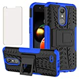 Phone Case for LG Aristo 3 2 Plus 1/Tribute Dynasty Empire/Rebel 4 LTE/Fortune 2 1/Phoenix 4 3/Zone 4/Risio 2 3/K8 K8s with Tempered Glass Screen Protector Cover Stand Hard Cell Accessories Black Blue
