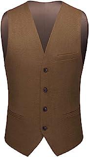 MU2M Men V Neck Single-Breasted Sleeveless Solid Color Slim Dress Suit Vest Waistcoat