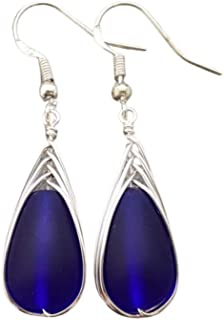 """product image for Handmade in Hawaii, wire braided cobalt Sapphire blue sea glass earrings,""""September Birthstone"""", (Hawaii Gift Wrapped, Customizable Gift Message)"""
