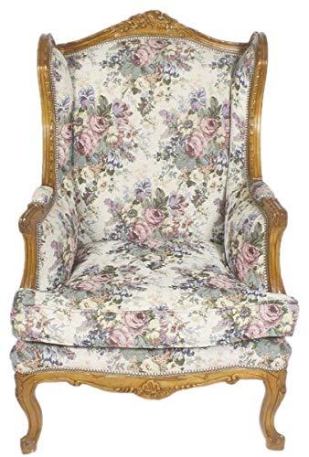 Casa Padrino Barock Ohrensessel Mehrfarbig/Braun 83 x 83 x H. 110 cm - Wohnzimmer Sessel mit Blumenmuster