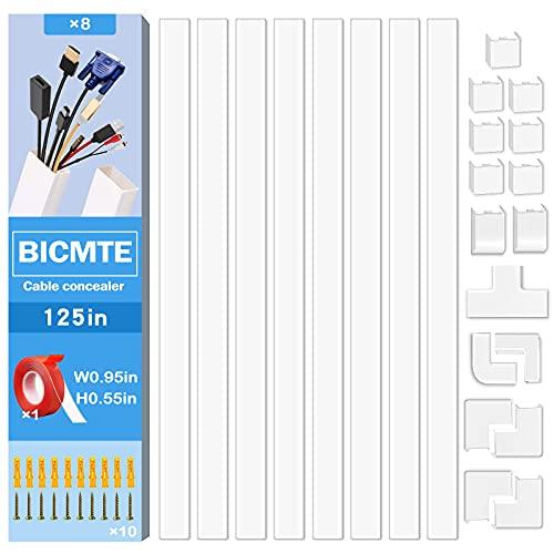 canaleta Cables ,canaleta Cables Adhesiva Blanca 8X40cm,canaleta Cables Pared TV,Cables de Cables ordenados para Uso en el hogar y la Oficina