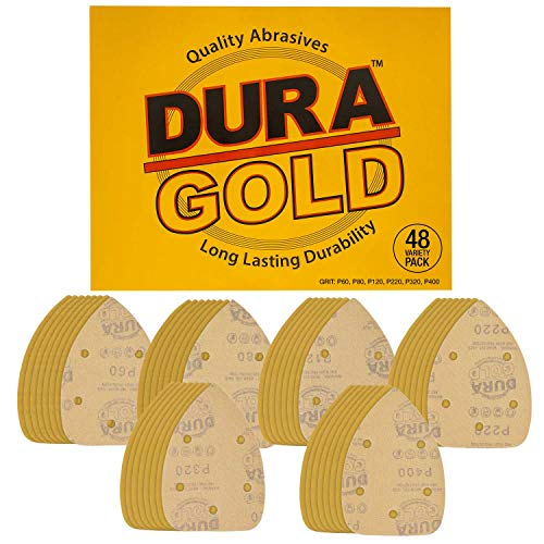 Dura-Gold - Premium Hook & Loop - Variety Pack (60,80,120,220,320,400) Grit 5-Hole Hook & Loop Sanding Sheets for Mouse Sanders - Box of 48 Sandpaper Finishing Sheets for Automotive and Woodworking