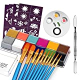 CCBeauty Professional Face Body Paint Oil 12 Colors Halloween Art Party Fancy Make Up Kit with 10 Blue Brushes,3-Well Plate with Spatula Tool,4 Sheet Stencils