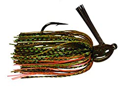 Strike King Hack Attack heavy brush and cover skirted jig in a crayfish pattern with glitter.
