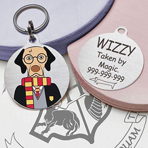 Snout Fashion Potterdog, targhetta identificativa per Cani in Acciaio Inox – Harry Potter nel Mondo dei Cani, Personalizzabile (Up to 10kg/20lb (Ø30mm))