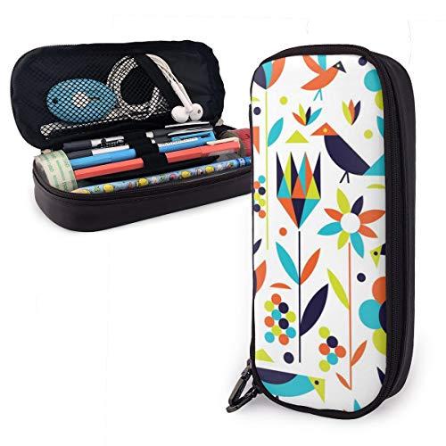 OUYouDeFangA - Bolsa de almacenamiento de piel sintética con diseño geométrico de pájaros y flores, bolsa de almacenamiento portátil para estudiantes, lápices, oficina, papelería, bolsa, cartera con cremallera, bolsa multifunción para maquillaje