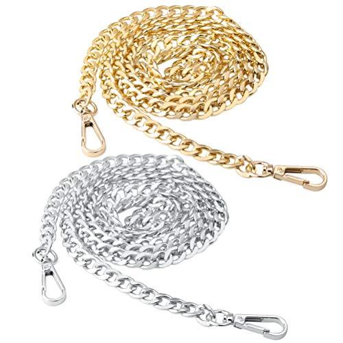 nuoshen 2 Stücke Taschenkette, Metall Schulter Riemen Kette Trageriemen Kette für Tasche Handtasche Damen Umhängetasche (Gold, Sliber)