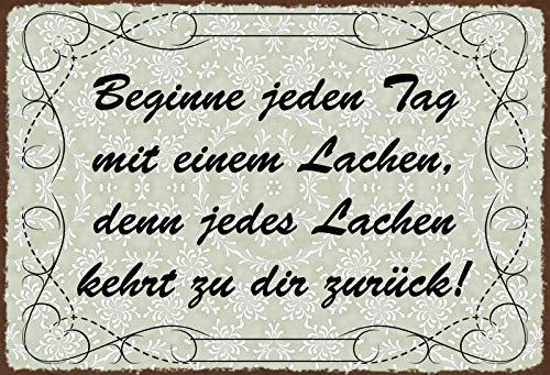 Schatzmix Spruch Beginne jeden Tag mit einem Lachen… Metallschild Wanddeko 20x30cm tin Sign Blechschild, Blech, Mehrfarbig, 20x30 cm