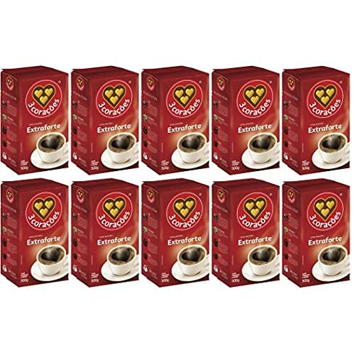 3 Coracoes Extra Forte Brazilian Ground Coffee Vacuum Packed 500 grams (Pack of 10)