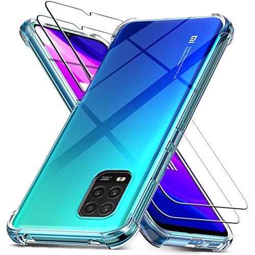 Ferilinso Hülle für Xiaomi Mi 10 Lite 5G + 2 Stück Panzerglas Schutzfolie [Transparent Silikon Handy Hüllen] [Stoßfest Kratzfest ] [Shock Absorption Schutzhülle] [Bumper Crystal]