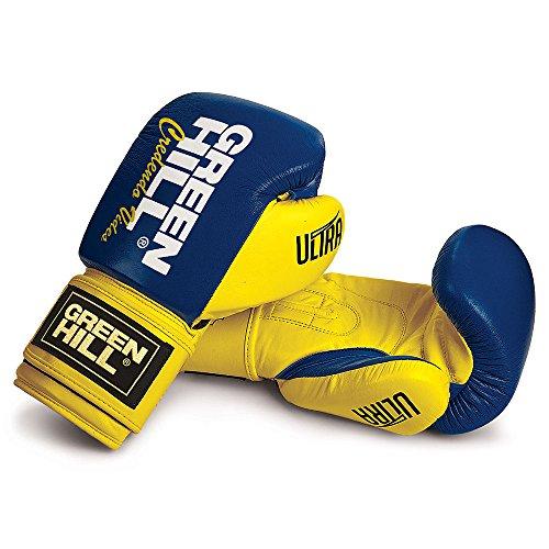 Boxhandschuh Ultra Leder (blau-gelb, 14oz)