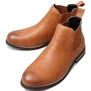 [グロウスモード] エンジニアブーツ サイドゴア チェルシーブーツ メンズ ラウンドトゥ スムース 靴 ブーツ B4L 革靴 カジュアルブーツ ショートブーツ シューズ ハイカット ワークブーツプレゼント ギフト 父の日 L(27.0cm~27.5cm) キャメル BLGLBB-155-CAM-L_x7