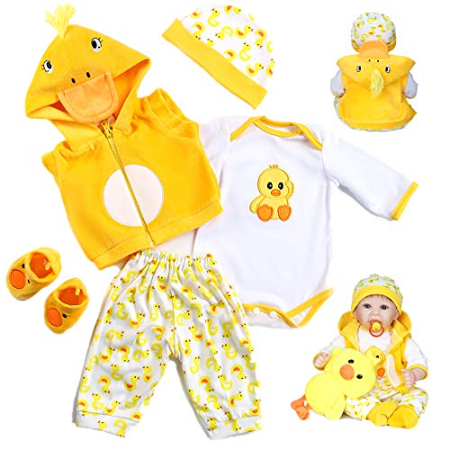 Pedolltree Reborn Baby Dolls Clothes 22 inch Outfit Accessories Yellow Duck 5pcs Set for 20-22 Inch Reborn Doll Newborn Girl&Boy