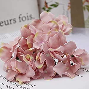 Artificial and Dried Flower Artificial Hydrangea Bouquet Flower Silk Flowers with Free Stem for Home Wedding DecorationUSJ99 – ( Color: Lotus Root Pink )
