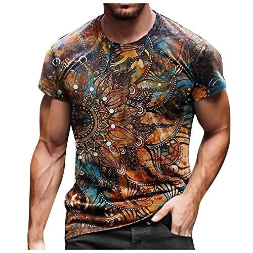 T-Shirt Top Bluse Männer Frühling Sommer Casual Slim 3D gedruckt Kurzarm (XXL,7Khaki)