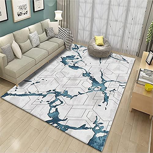 Alfombra Entrada casa Interior,Alfombra Gris y Azul, Moderno No se Cae de Color fácil de vaciar Alfombra de rastreo bebé ,alfombras de Salon -Azul_140x200cm