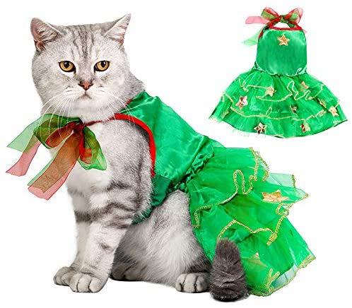 Dorakitten Ropa de Navidad para Gatos, Navidad Ropa para Mascotas, Verde Disfraz para Gatos, Víspera de Todos los Santos Traje de Gatito de Gasa de Pavo Real Vestido de Fiesta de Gatito Talla M