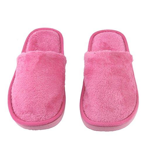 Desconocido Plantilla de Goma Transpirable Felpa Interior Casa Casa Mujeres Hombres Inicio Zapatos Antideslizantes Suela Suave Algodón cálido Zapatillas silenciosas para Adultos - Rosa roja, 38-39