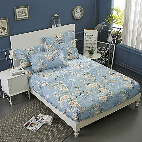 spannbettlaken hohe matratze,Spannbetttücher aus Baumwolle, Doppelbett aus flachem Laken, Tagesdecke aus Köper für den Schlafsaal für Mädchen, Schlafzimmer blau, 120 x 200 cm, einteilige Matratze