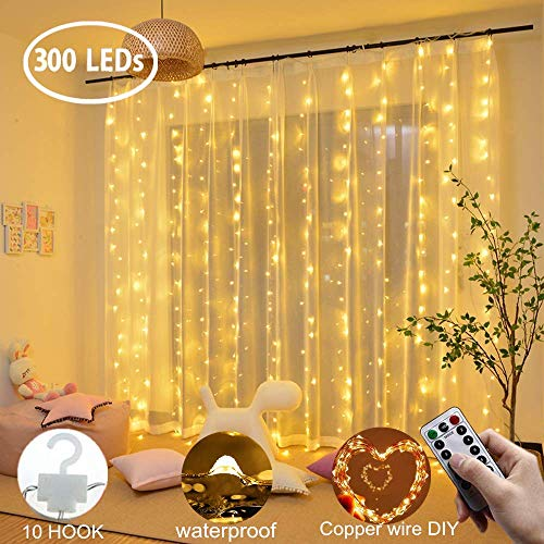 Window Curtain Fairy Twinkle Lights 3mx3m 300leds USB Operated 8 Modes Icicle LED String Lights with Remote & Timer & 10 Hooks for Indoor Xmas Party Home Garden Decoration (Warm White)