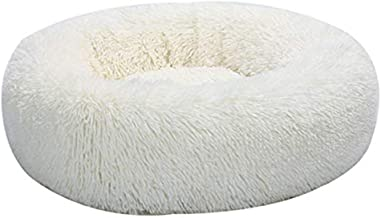 Round Pet Bed for Cats or Small Dogs Pet Calming Bed Shag Donut Cuddler Plush Cats Dog Sleeping Mat Self Warming Autumn Wi...