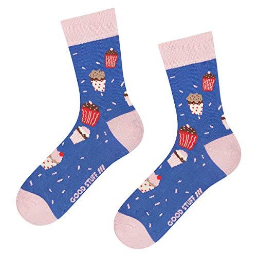 soxo Damen Bunte Muster Socken | Größe 35-40 | Motivsocken aus Baumwolle | Lustige Geschenk für Frauen (Kekse)