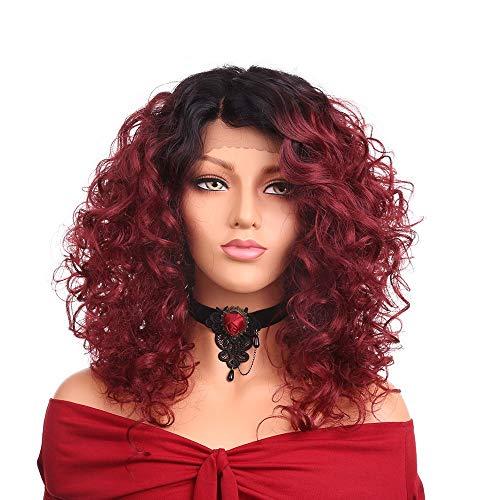 Pelucas SWNN Negro rojo de la pendiente de la peluca rizada corta inclinación de pelo Bangs peluca delantera de la capilla de la fibra química de encaje de seda de alta temperatura Gradiente Capucha