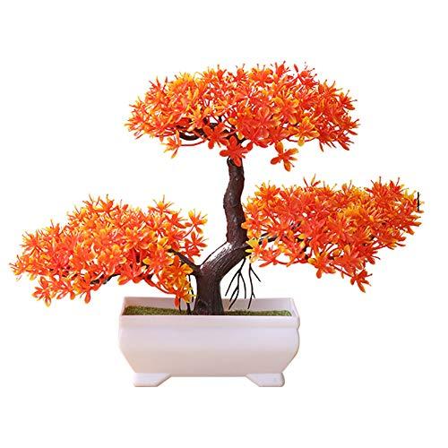 MoGist Planta artificial de simulación de plástico de pino, árbol bonsái artificial en maceta, bonsái decorativo para la oficina y el hogar (naranja)