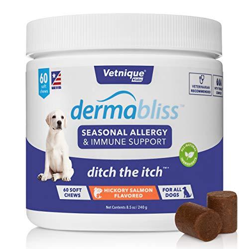 Vetnique Labs Dermabliss Alergia estacional y Apoyo inmunológico para Perros con Omega 3-6-9, probióticos, enzimas, Aceite de Pescado - Golosinas para Perros con Sabor a salmón Nogal (60 Unidades)