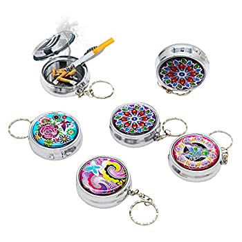 LZYMSZ 6Packs Portable Pocket Ashtray Stainless Steel Circular Ashtray Key Chain with Cigarette Snuffer Modern Ash Holder for Outdoor Use