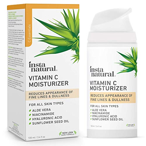 InstaNatural Vitamin C – Feuchtigkeitscreme – Anti-Aging Gesicht & Faltenreduzierungs-Lotion für Sie & Ihn – mit Hyaluronsäure & Bio-Jojobaöl – für trockene, empfindliche & fettige Haut – 100 ml