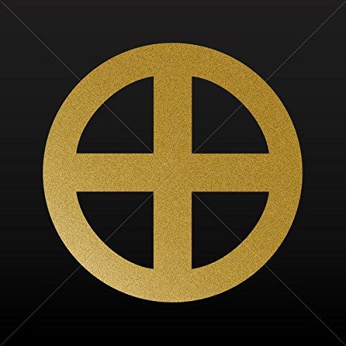 Religion Various sizes Decal Sticker Bolgar Sunwheel Solar Woden Cross Vehicle Weat Gold-Matte (5 X 5 Inches)