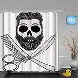 Cortinas de Ducha,Hipster Skull con Peinado Barba y Bigote Peine y Tijeras Creepy Retro, Cortina de Baño Material de poliéster Resistente al Agua con Ganchos 180 * 180cm