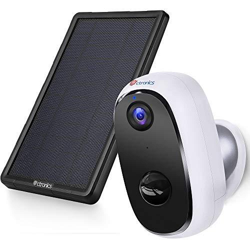 Überwachungskamera Aussen Akku mit Solarpanel, Ctronics WLAN IP Kamera Outdoor 10000mAh Kabellos 1080P, PIR-Bewegungserkennung, 2-Wege-Audio, Nachtsicht, integrierter SD-Steckplatz, IP66 wasserdichte