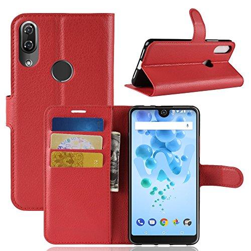 HongMan Handyhülle für Wiko View 2 Pro Hülle, Premium Leder PU Flip Hülle Wallet Lederhülle Klapphülle Magnetisch Silikon Bumper Schutzhülle Tasche mit Kartenfach Geld Slot Ständer, Rot