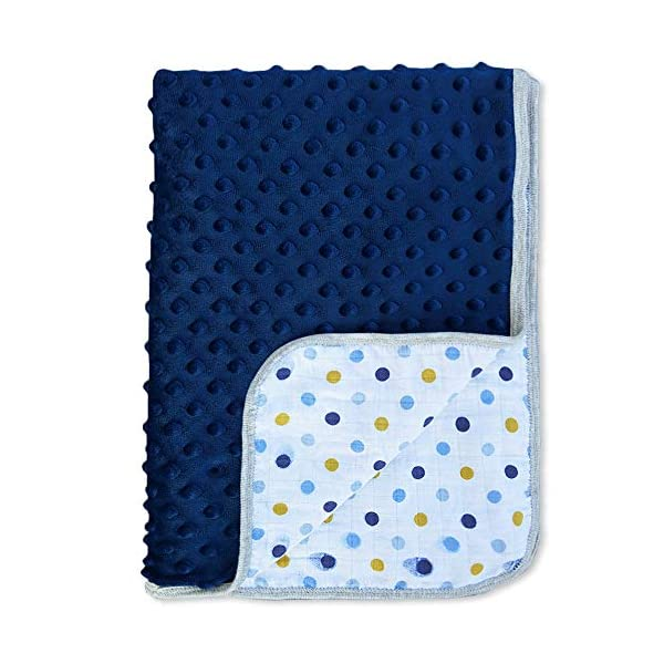 BlueSnail Baby Minky Blanket with Double Muslin Cotton Layerfor Boys and Girls (Navy+Muslin dots, 30W x 40L)