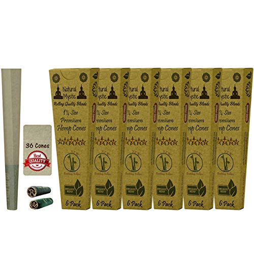 36 Cones Organic Rolling Paper Cone - 1 1/4 Pre Rolled Classic Pre-Rolled Tip with Slow Burn Raw Extract Cone Hand Rolled Papers Ultra Thin One Hitter Brown with Filter Tips Natural Mystic 6 Packs