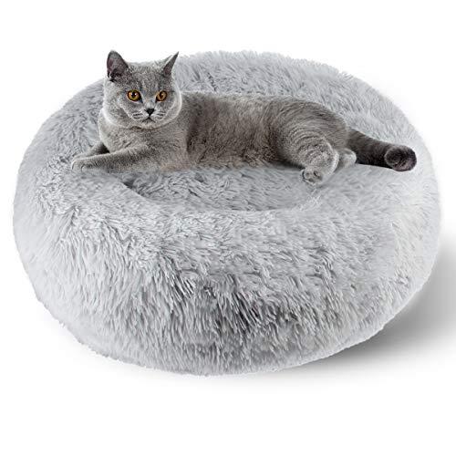ETACCU Cama Redonda de Felpa para Gatos, casa para Perros, Cama para Mascotas, Cama para Mascotas pequeña con Forma de rosquilla Suave y cómoda 50 /60 / 70CM (50cm, Gris Claro)