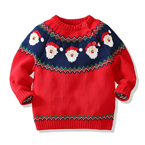 Miccina Baby Toddlers Boys Girls Christmas Deer Sweater Unisex Children Cotton Knit Pullover for Christmas Party Photograph (Xmas, 4-5T)