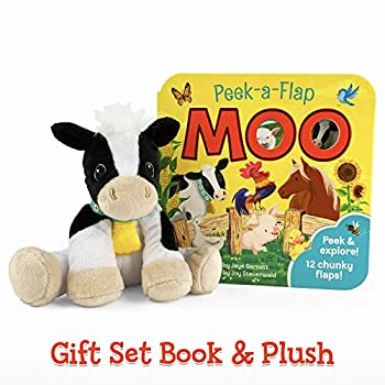 Moo Peek-a-Flap Gift Set  Includes Lift-A-Flap Board Book and Cuddly Plush Toy Friend for Birthdays Baby Showers Christmas and Easter Basket Stuffers Ages 0 - 6