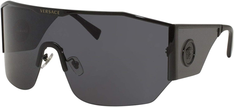 Versace Man Sunglasses, Black Lenses Metal Frame, 41mm