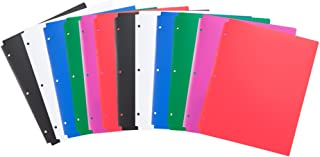 Comix Plastic 3 Hole Punched 2 Pocket Folders, Letter Size, Pack of 24, Assorted Colors,Back to School/Campus Supply (A214...