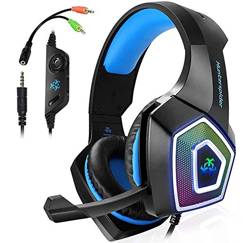 HEHE Auricular Estéreo Bajo del Juego con El Micrófono De 3,5 Mm para Los Varios Dispositivos De Audio Inteligente Juego para PC PS4,Negro