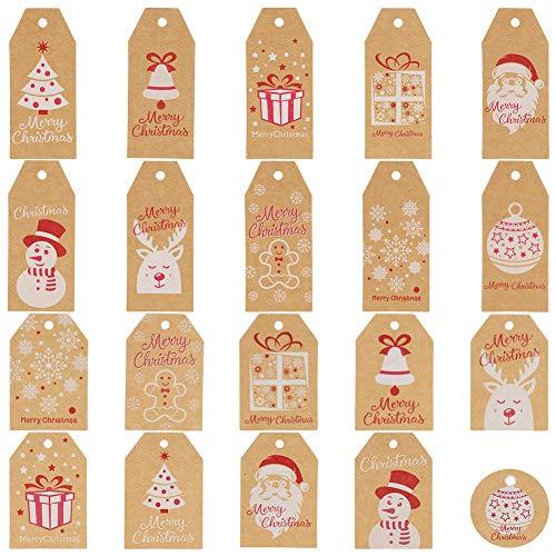 AUXSOUL 200 Stück Weihnachten Geschenkanhänger, Kraftpapier Geschenk Anhänger Etiketten Papieranhänger Weihnachten für Weihnachten Geschenke zum Basteln mit 30M Juteschnur