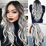 Long Wavy Synthetic Wigs 26 Inches Ombre Silver Soft Heat Resistant Synthetic Hair Wigs Dark Roots Natural Looking Cosplay Wigs for Women
