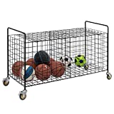 MyGift 2-Compartment Rolling Black Metal Sports Ball & Gym Equipment Storage Cart