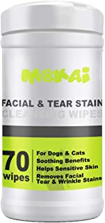 MOKAI Facial Wrinkle Eye and Tear Stain Wipes for Dogs and Cats   Extra Soft Wipes with Mild Fragrance-Free Formula that Removes Eye Discharge and Reduce Tear and Saliva Stains (70 Wipes)