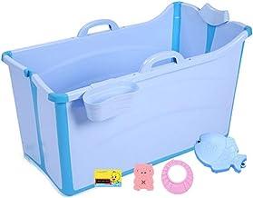 Baby Folding Bath Adultos Niños Plegable Bañera Bañera Plegable Gran Bañera Bebé Piscina Adulto Bañera Inicio (color: Azul, Tamaño: 91 * 50 * 53 Cm)