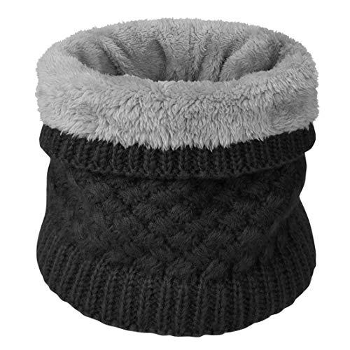 heekpek Sciarpa Invernale Donna Sciarpa Rotonda Lavorata a Maglia (nero)